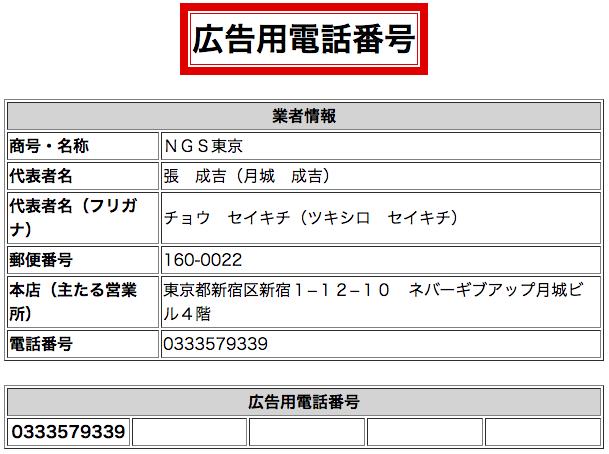 NGS東京電話番号