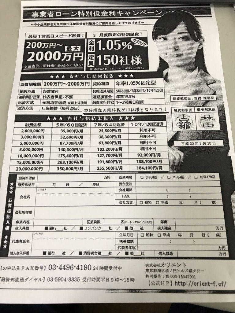 株式会社オリエント闇金FAX